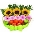 Sunflowers & Gerberas with fresh fruits