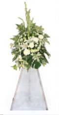 White floral stand of Tuberoses, Casabalanca Lilies, Chrysanthemums & Greens.