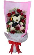 Rose & Graduation Bear Hand Bouquet