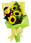 Graduation Winnie The Pooh with Sun Flowers Bouquet